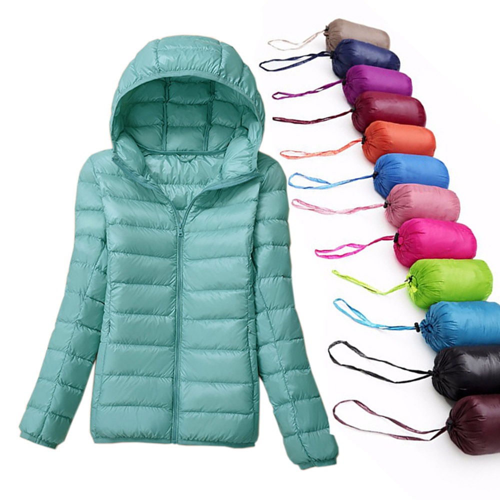 Winter Women UltraLight Down Jacket 90% Duck Down Coat Jackets Long Sleeve Slim Warm Parka Female Solid Hooded Portabl Outwear
