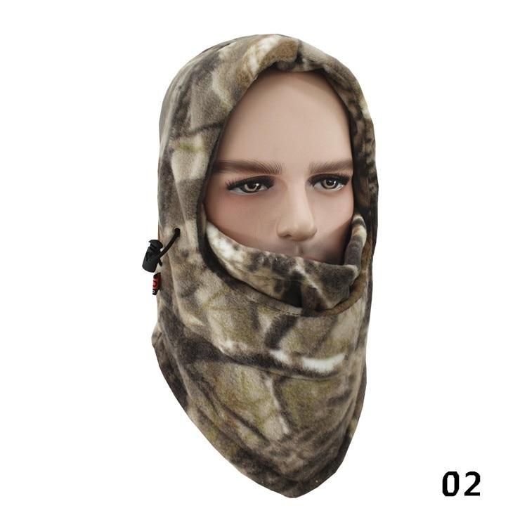 Зимняя шапка для лица и шеи, флисовая камуфляжная шапка, Балаклава для походов и верховой езды, лыжная и охотничья теплая шапка, Ветрозащитная маска - Цвет: A-02