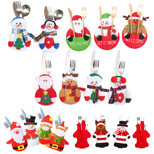Cute Non-Woven Fabric Christmas Knife Fork Bag Christmas Decoration for Home New New Year Table Dinner Decor Natal Navidad