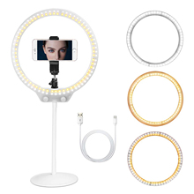 ZOMEI Selfie リングライト 26 センチメートル LED 写真照明ビデオスタジオライブ調光可能なリングライトとスタンドのための Usb プラグ電話