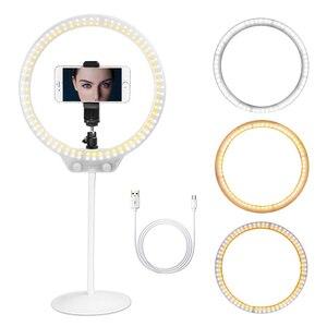 Image 1 - ZOMEI Selfie مصباح مصمم على شكل حلقة 26 سنتيمتر LED التصوير الإضاءة فيديو استوديو لايف عكس الضوء Ringlight ماكياج مع حامل USB التوصيل للهاتف