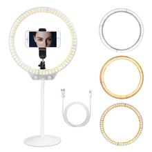 ZOMEI Selfie Ring Licht 26cm LED Fotografische Beleuchtung Video Studio Live Dimmbare Ringlight Make Up mit Stand USB Stecker für telefon