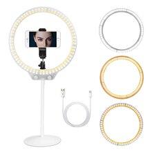 ZOMEI Selfie Ring Licht 26cm LED Fotografische Verlichting Video Studio Live Dimbare Ringlicht Make Up met Stand USB Plug voor telefoon