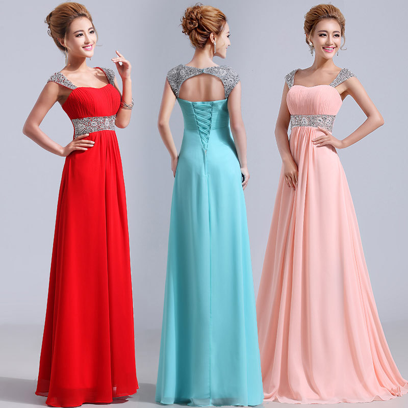 9a59fb273ac Robe rose pour mariage new chiffon crystal cap sleeve back A line blue  purple red wedding guest dress long vestido madrinha-in Bridesmaid Dresses  from ...