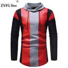цена на New 2019 Men Long Sleeve T Shirt Spring Casual stand Neck  Elastic Fit Funny Streetwear Solid t shirt  fashion Tops plus size