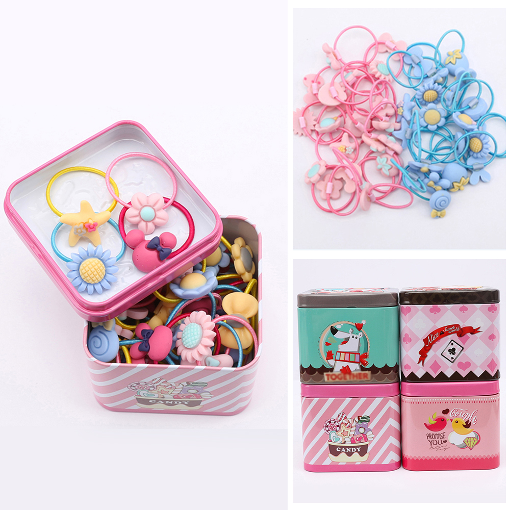 40Pcs/Lot Baby Headband Hair Accessories Elastic Rubber Hair Bands Girl Floral Ponytail Holder Headband Mixing Elastic Hair Ring 10pcs lot pearl elastic tie gum hair accessories hair bands headwear ponytail holder ropes seamless scrunchie gum for girls