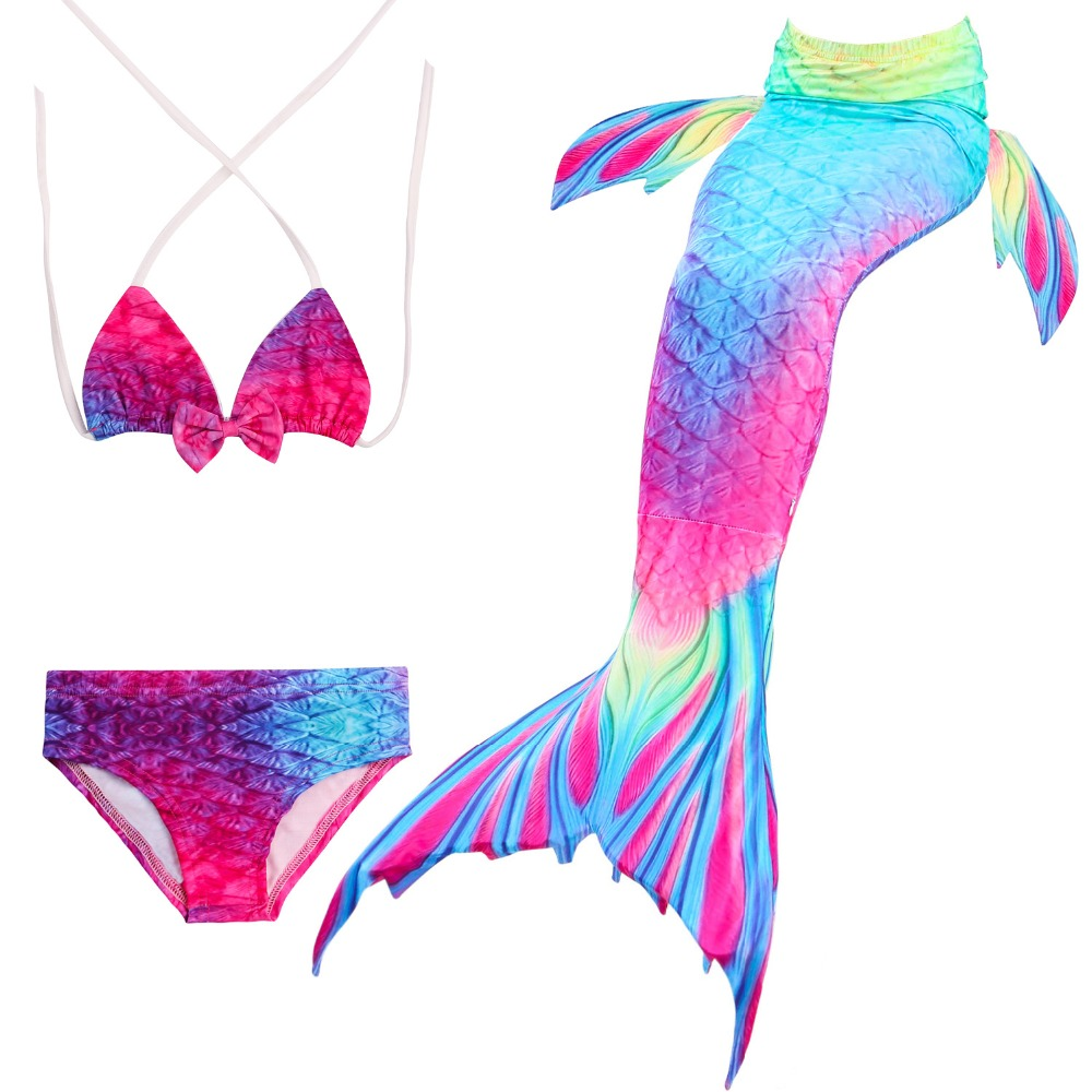 New 2018 HOT!Ariel Mermaid Tail Swimming Mermaid Tail with Flipper Bikini Girls Children Swimmable Mermaid Tail Costume Cosplay