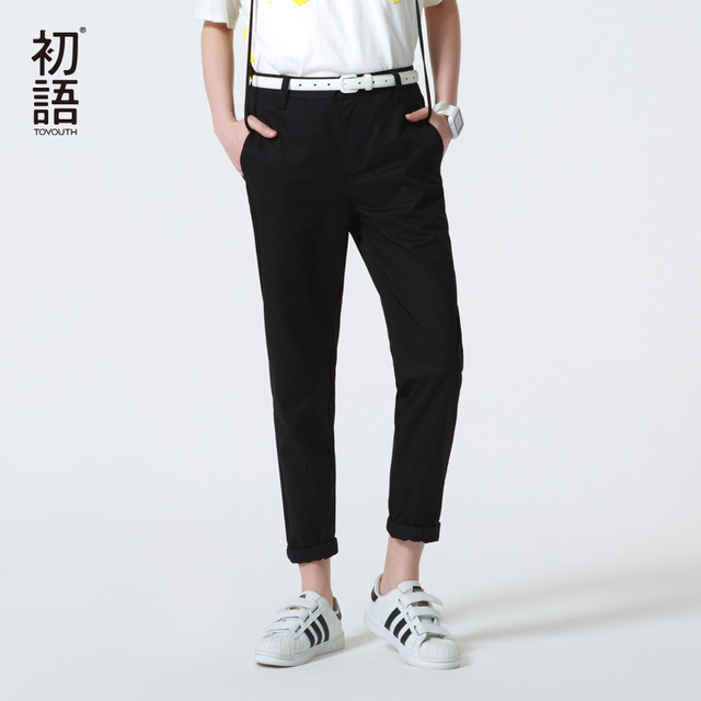Toyouth New Arrival Women Full Length Pants Summer Solid Mid Waist Casual Loose Trousers XXL Size Ladies Pencil Pants