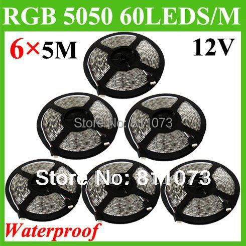 30M/LOT 5M/ROLL SMD 5050 RGB 300 Led Waterproof IP65 Flexible 60Leds/M Strip