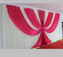 White and Fuchsia Ice Silk Wedding Backdrop 3m*6m(10ft*20ft) Wedding Decorations with Shiny Sequins Fabric Fast Delivery