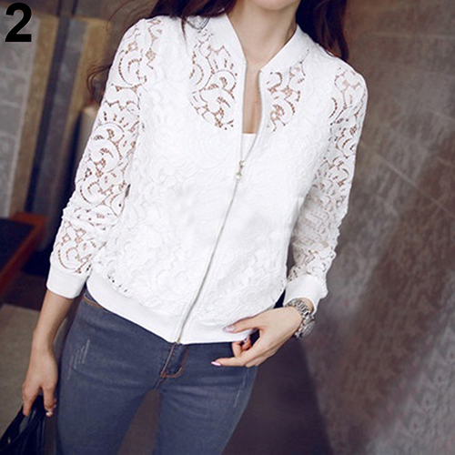 New Women's Fashion Hollow Floral Lace Zipper Pocket Casual Short Jacket Coat Top Warm Streetwear Outdoor Windproof Punk Style