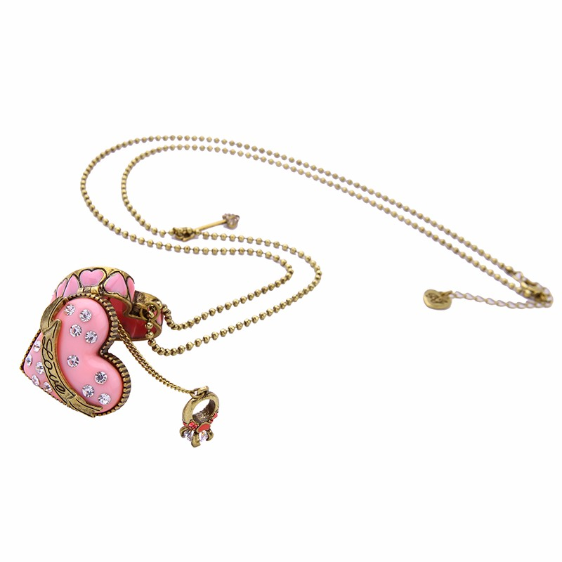 Sweet New Fashion Elegant Jewelry Pink Opened Heart Necklace Pendant Antique Gold Color Vintage Necklace Gift Lahore