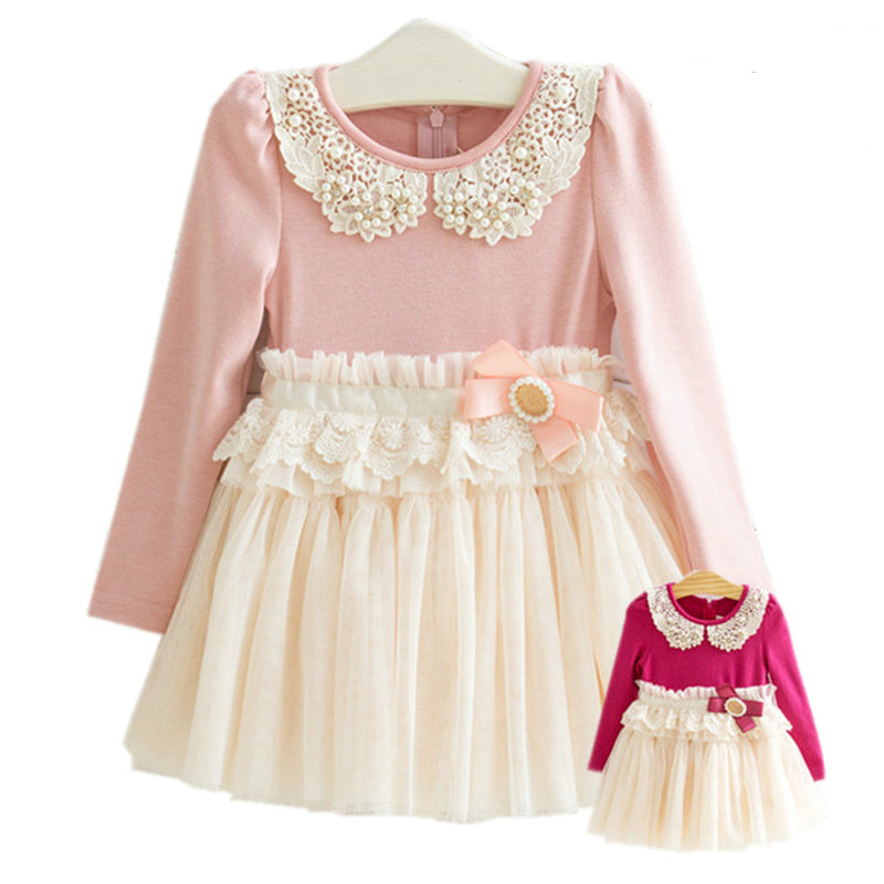Free shipping children's clothing spring girl nylon lace long-sleeve dress girl fashion princess dress 100% cotton free shipping children clothing spring girl three dimensional embroidery 100% cotton suit long sleeve t shirt pants