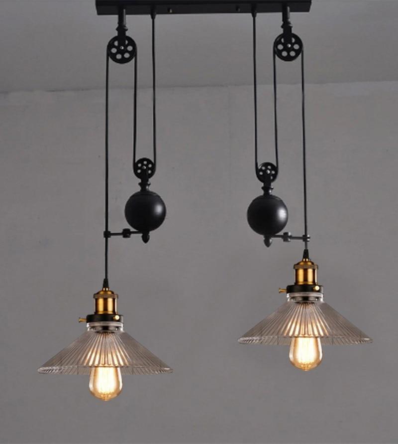 Retro pulley pendant light lamparas glass metal lampshade for Lamparas vintage baratas