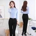 Novedad Azul Delgado Moda Femenina Profesional Estilo Uniforme de Trabajo de Negocios Trajes Con Tops Y Pantalones Señoras de la Oficina Pantalones Conjuntos