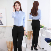 Novelty Blue Slim Fashion Professional Female Uniform Style Business Work Suits With Tops And Pants Ladies Office Trousers Sets