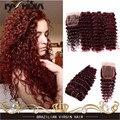 7А Красный 99j Бразильские Глубокая Волна Волосы Вьющиеся Волосы, Глубокие Бургундия бразильского виргинские наращивание волос Кудрявый Вьющиеся Волосы Утка С Кружевом закрытие