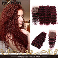 7A Red 99j Brazilian Deep Wave Hair Deep Curly Hair Extensions Kinky Curly Hair Weft Burgundy brazilian virgin With Lace Closure