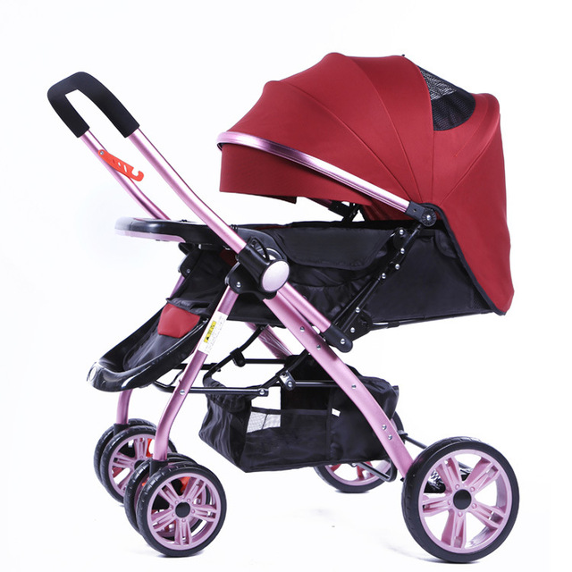 High Quality Baby Stroller Shockproof Folding Aluminum Soft Baby Car Portable Can sit Lying Push Baby Stroller 3 in 1 C01