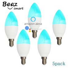 BOAZ 5 PCS smart E14 Candle Light WiFi RGBW Led Bulb Voice Control by Alexa Echo Google Home 2.4G Tuya APP