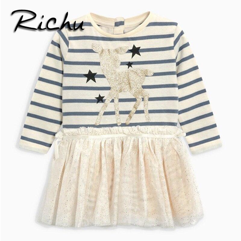 Richu платье для девочек длинные рукава Детская нарядное платье костюмы Детская одежда Одежда для девочек зимние теплые малышей кружевная бл...