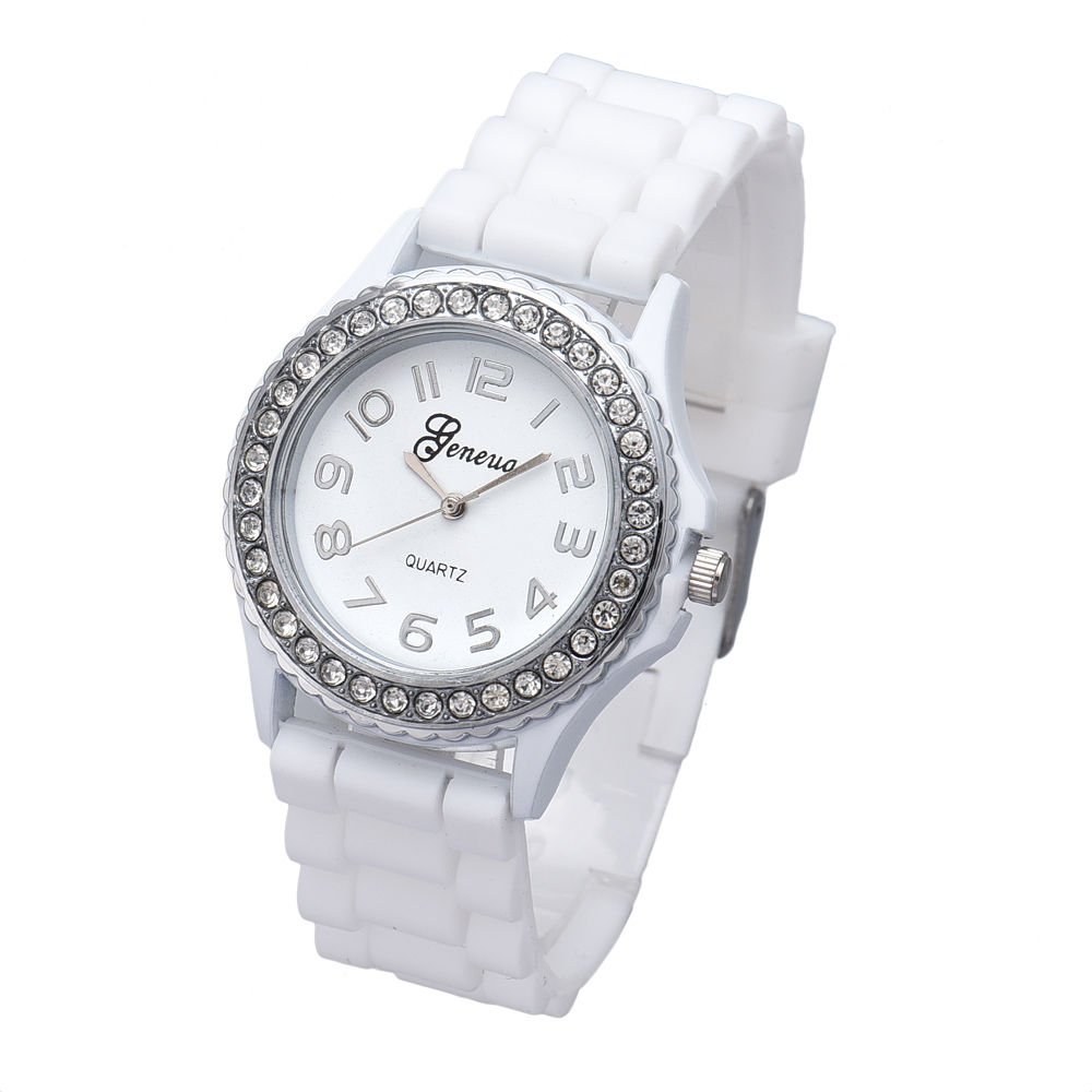 Supper Fun Hot  Relogio Feminino Fashion Silicone Gel Ceramic Style Band Crystal Bezel Women's Watch  jan24