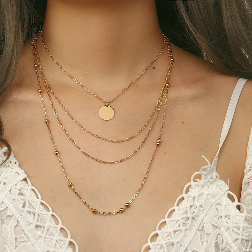 Fashion Trendy Jewelry Copper Choker Multi Layer Necklace Gift For Women Boho