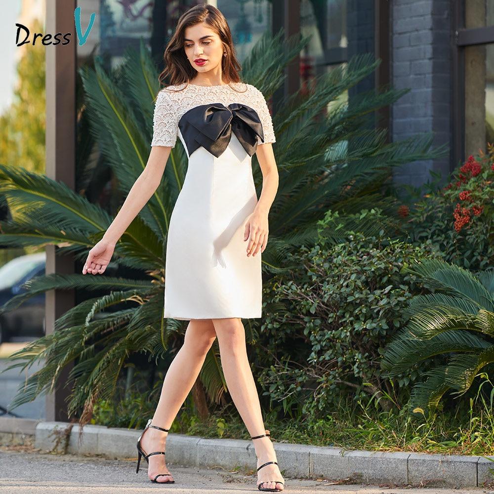 Dressv Ivory Cocktail Dress Elegant Scoop Neck Zipper A Line Short Sleeves Wedding Party Formal Dress Cocktail Dresses