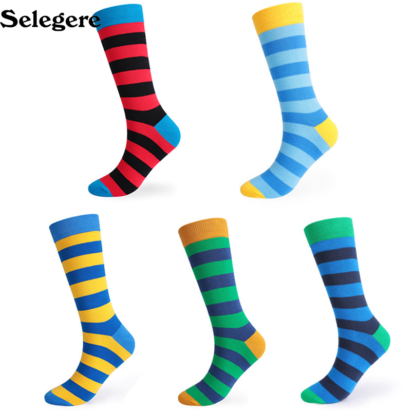 100pcs/lot 2018 Autumn And Winter Thickening Large Long Stripe Striped Men's Socks Cotton Deodorant Men Socks