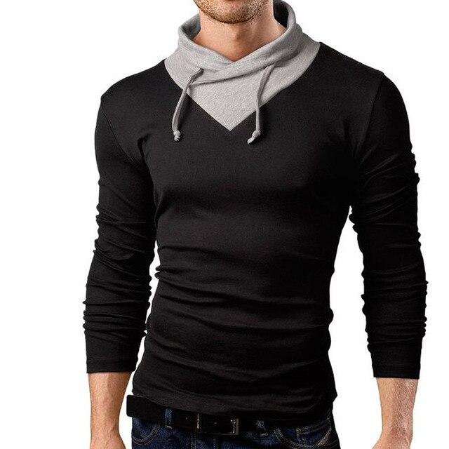 T Shirt Men 2017 Brand Long Sleeve Hip Hop Male Palace T-Shirts Mens Stitching Collar Casual Mens Funny Tshirt Slim Tee Tops XXL