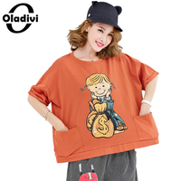 Oladivi plus größe frauen clothing sommer casual t-shirt karikaturdruck baumwolle tops tees weibliche mode kurze bauweise shirts tuniken