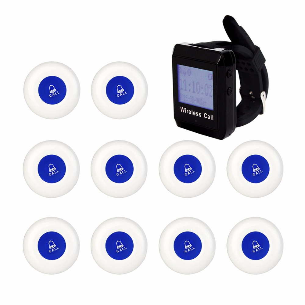 433MHz Restaurant Bar Wireless Call Paging System 1pcs Watch Receiver Host +10pcs Transmitter Button Restaurant Equipment F3258 restaurant pager wireless calling system 1pcs receiver host 4pcs watch receiver 1pcs signal repeater 42pcs call button f3285c