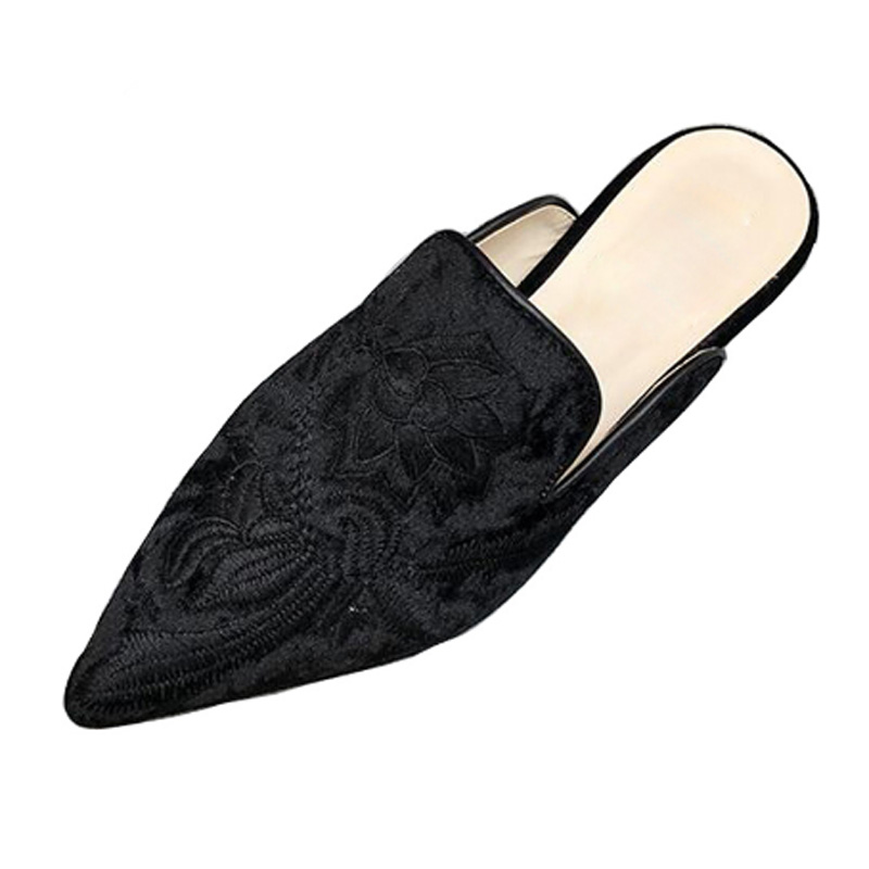De blue Xwt955 Plat Imprimé yellow Troupeau Fleur Bout Femmes Tangnest Mode Pantoufles Diapositives Black Mules Chaussures Pointu Pour Luxe Broderie afxqw