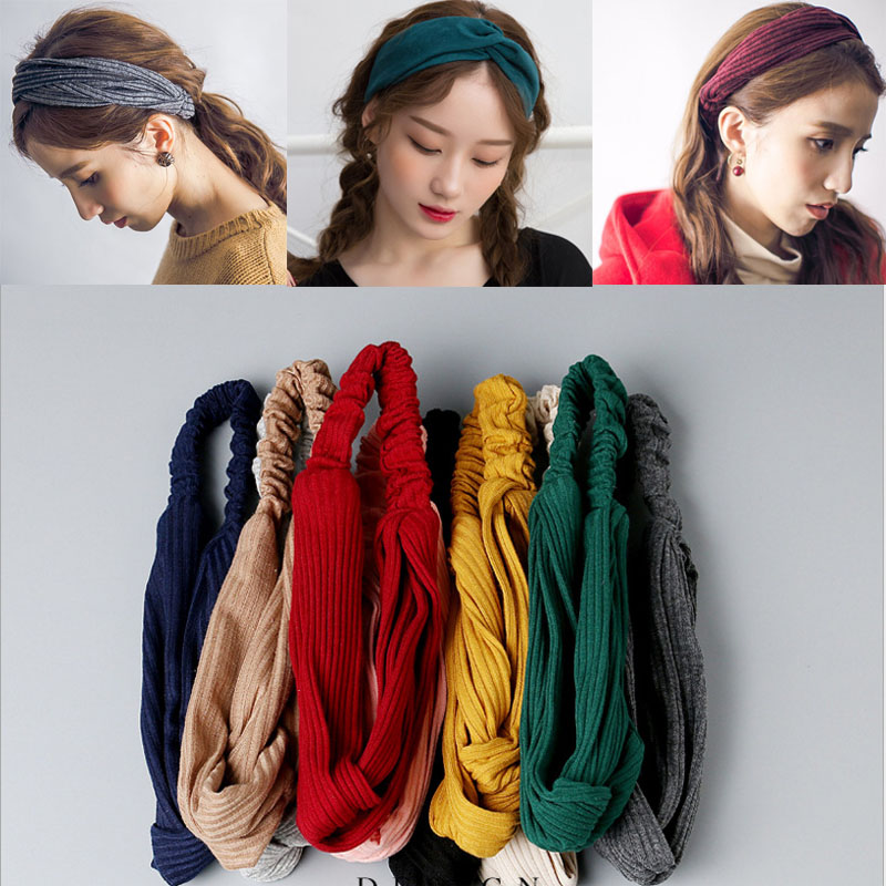 Woman Headband New Turban Solid Knitted Headbands Women Girls Makeup Elastic Suede Hair Band Twisted Hair Accessories Headwrap