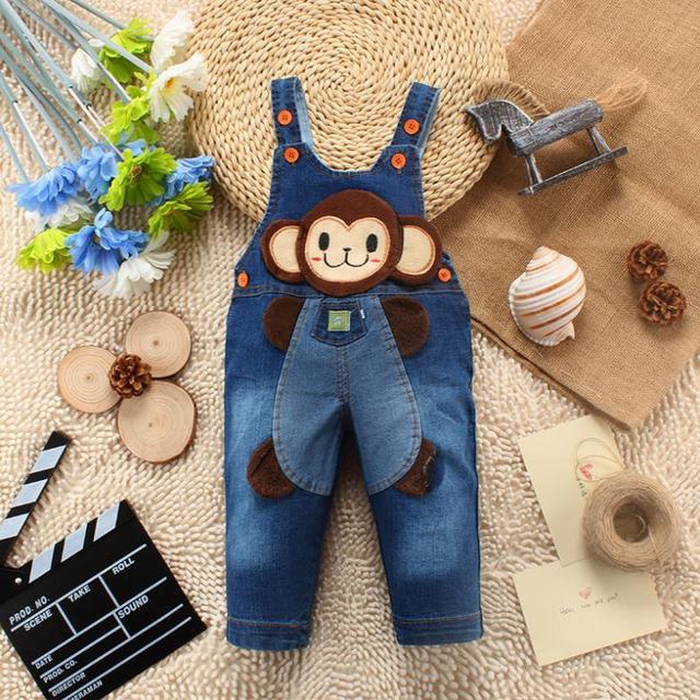 2016 calças novas do bebê boy & meninas primavera coreano estilo jeans calças infantis macaco dos desenhos animados macacões calças frete grátis