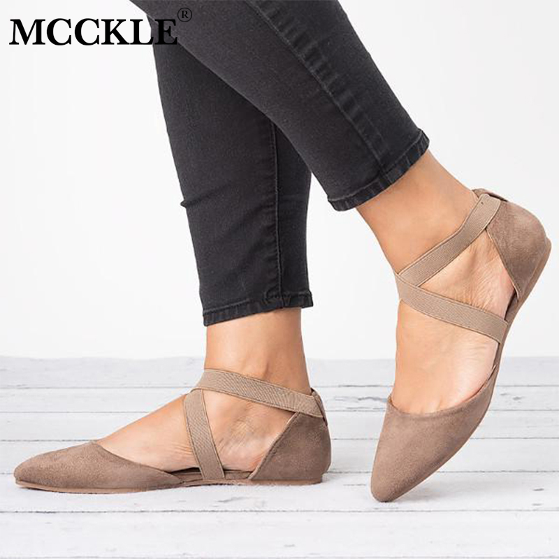 MCCKLE Autumn Flat Shoes Sexy Cross Strap Low Heel Plus Size Ballet Flats Elastic Band Female Casual Pointed Toe Single Shoe plus size criss cross high low tee