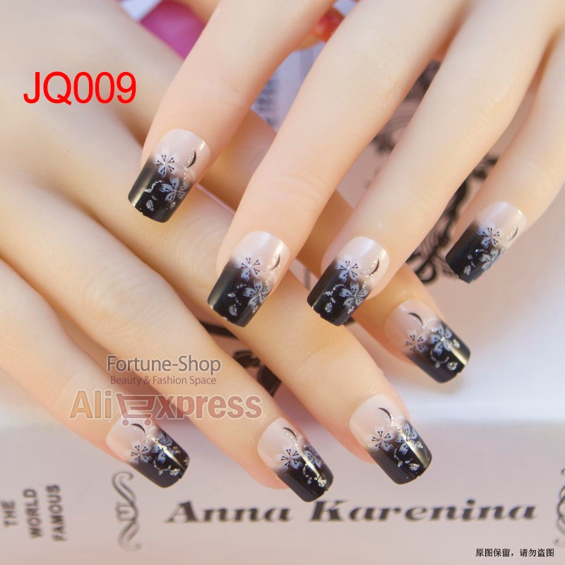 JQ 24pcs/set Beauty Pre Design Nail Tips Acrylic Nails Full French ...