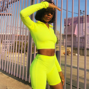 Image 2 - SheBlingBling Neon Fitness 2 Piece Set Women Clothing Set Long Sleeve Crop Tops Gym High Waist Shorts Cycling Set Female Outfits