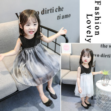2019 new summer dress foreign trade Korean girls sleeveless vest silver princess