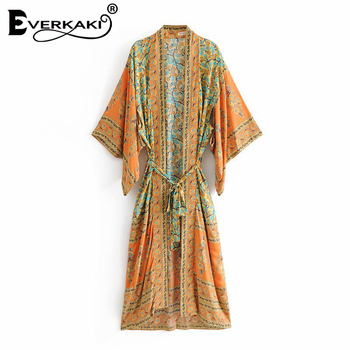 Everkaki Cotton Green Boho Print Kimono Coats Jackets Women With Sashes Bohemian Loose Coat Kimono Jackets Female 2018 Summer