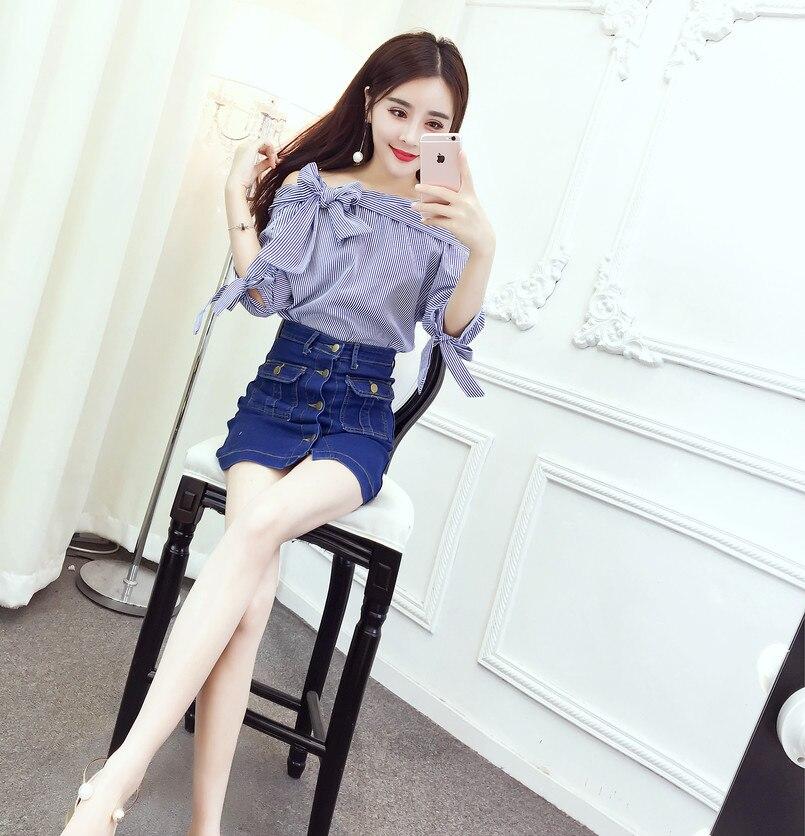 Новая мода Slash шеи бантом девять очков рукав + стиральная джинсовой наряд блузка рубашка белого и синего цвета в полоску 9045