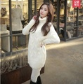 2015 Mujeres de la Marca Suéter de Cachemira de Cuello Alto Femenino Jerseys Ladies Blanco Tire Femme Vestido de invierno de punto suéteres Gruesos Abrigos