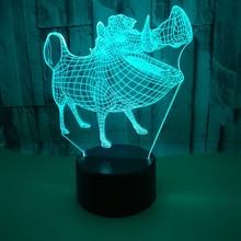 Дикий кабан акриловая 3D Голограмма лампа 7 цветов Изменение Ночной свет детский сенсорный переключатель цветные огни светодио дный LED USB настольная лампа атмосфера лампа