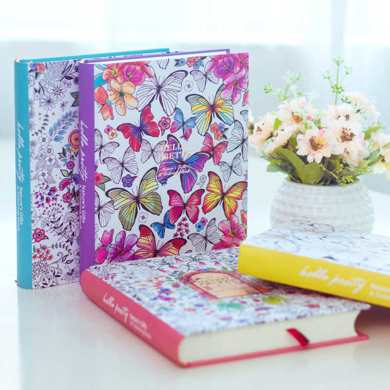2019 Kawaii Cute Korean Floral Printing Book Colorful Flower Line Notebook Hardcover Personal Journal Dairy Sketchbook For Girls