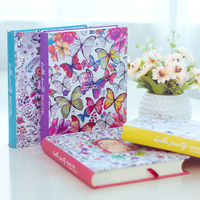 2017 Kawaii Cute Korean Floral Printing Book Colorful Flower Line Notebook Hardcover Personal Journal Dairy Sketchbook