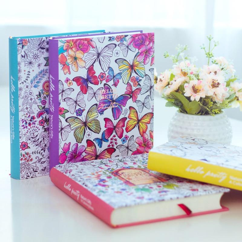 2019 Kawaii Cute Korean Floral Printing Book Colorful Flower Line Notebook Hardcover Personal Journal Dairy Sketchbook For Girls