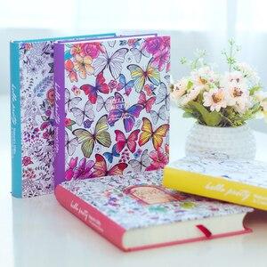 Image 1 - 2019 Kawaii Leuke Koreaanse Bloemen Printing Boek Kleurrijke Bloem Lijn Notebook Hardcover Persoonlijke Journal Zuivel Sketchbook Voor Meisjes