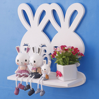 Simple decorative shelf wood decoration rabbit model shelf farmhouse style home decor