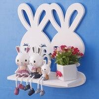 Simple decorative wall shelves wood decoration rabbit model shelf creative estanteria pared blanca