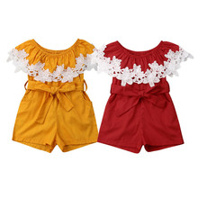 Newborn Baby Girls Lace Summer Romper Jumpsuit Outfits Off Shoulder Yellow Red One Pieces Clothes Playsuit newborn baby girls princess romper toddler kids long sleeves jumpsuit clothes children cotton lace playsuit pink yellow clothing
